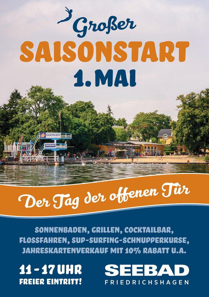 Seebad Friedrichshagen Ankündigung tag der offenen Tür, jedes Jahr am 1. Mai,Plakat